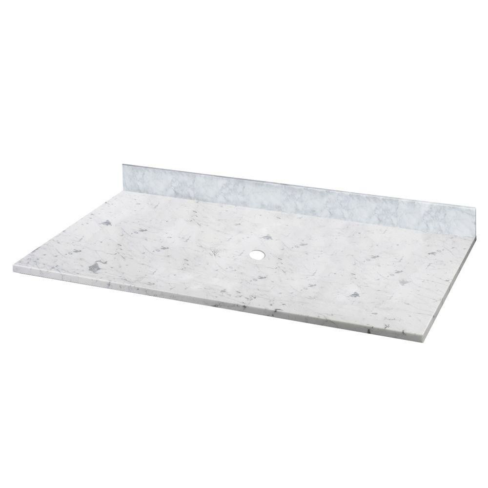 Carrara 37 Marble Vessel Vanity Top With Drain Hole Marble