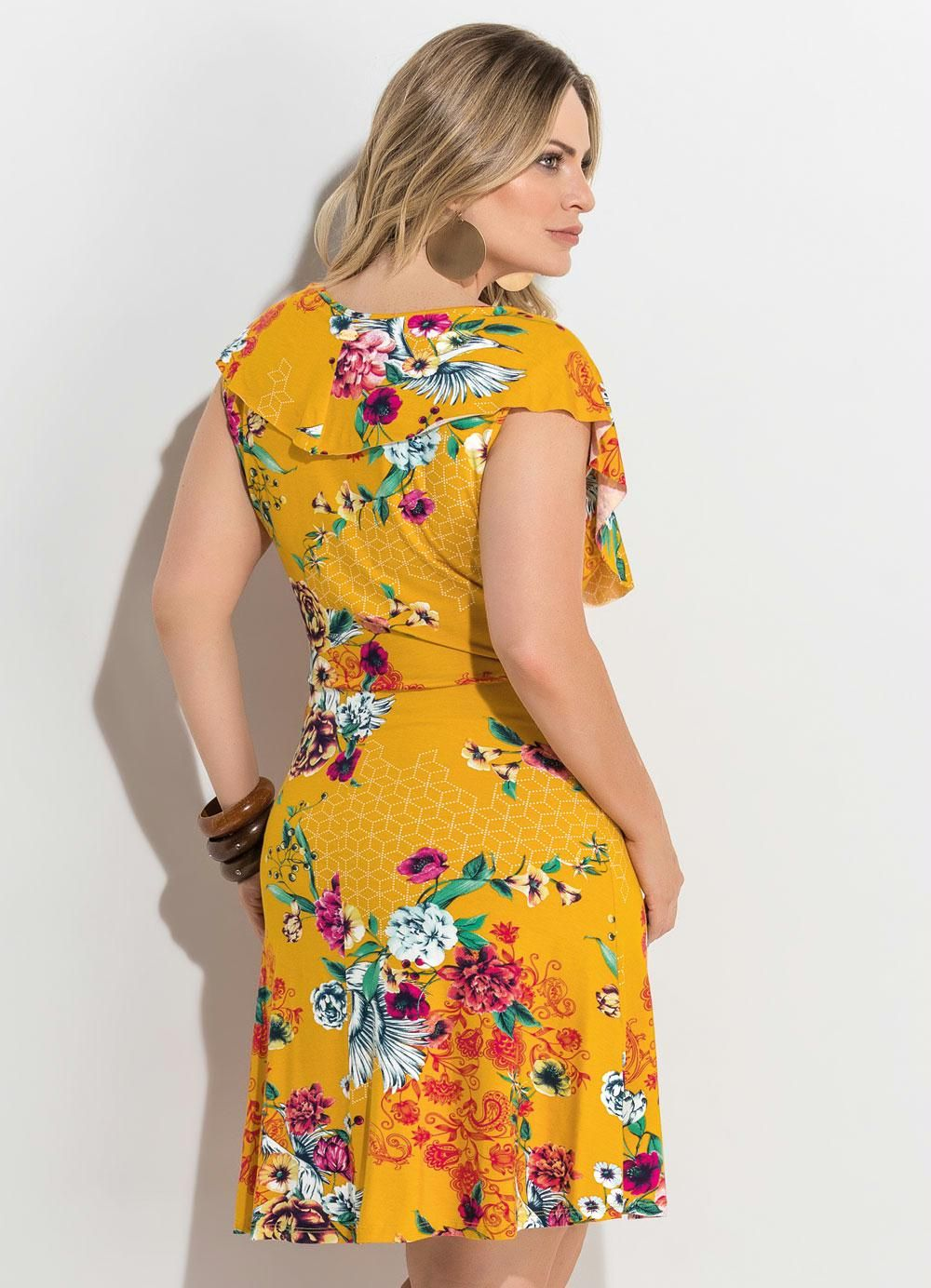 2bbdb2f0e Vestido Transpassado Estampado Amarelo Plus Size - Quintess