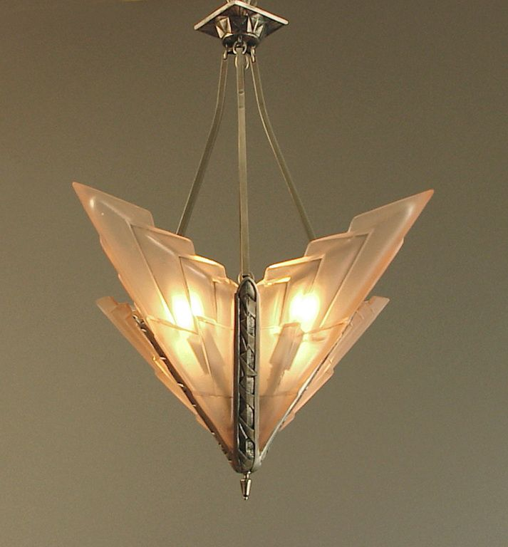 French art deco degue chandelier with geometric peach glass french french art deco degue chandelier with geometric peach glass from a unique collection of antique aloadofball Images