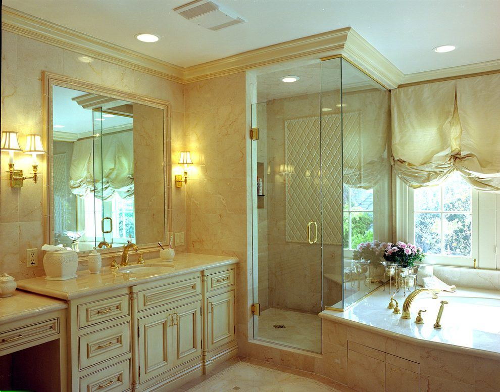 Shower crown molding bathroom traditional with white ceiling marble ...