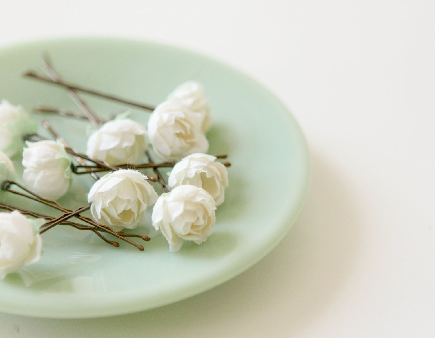 White rose bobby pins flower hair clips bridal accessory bobbies bridal hair clips wedding flower pins ivory rose bobby pins pemberley set mightylinksfo Image collections