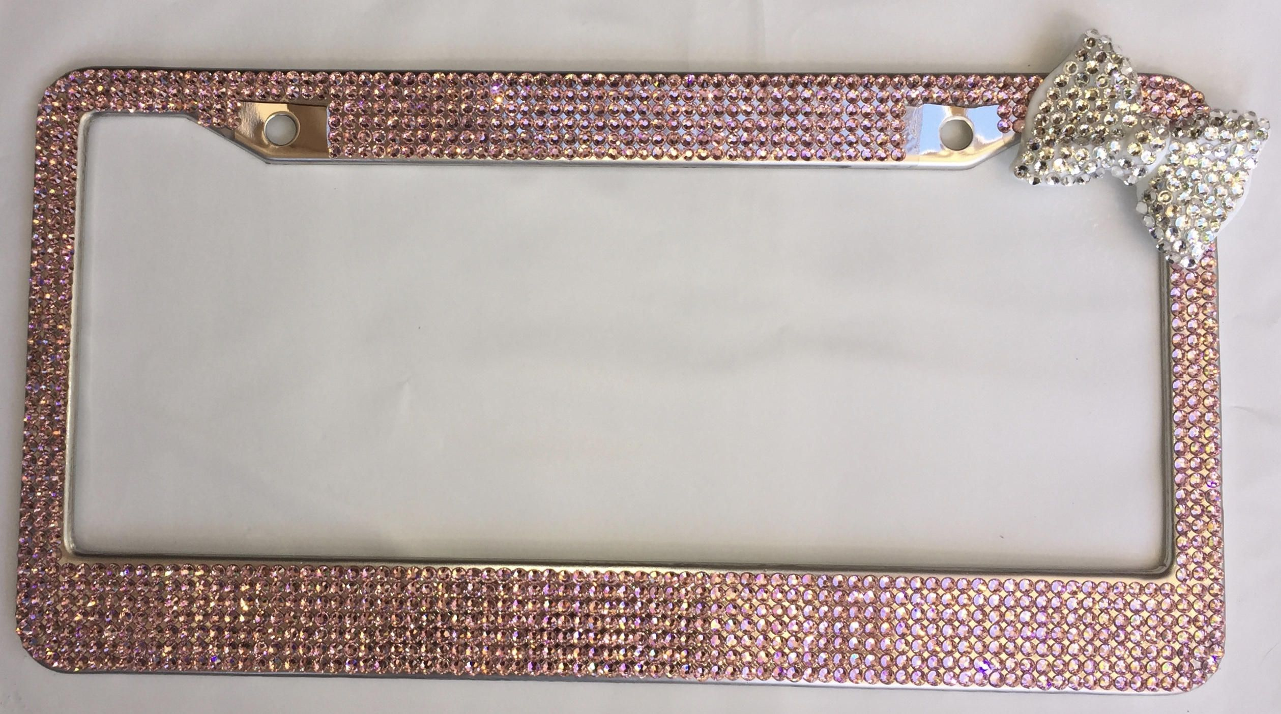 Pink Rhinestone Bling License plate frame, Crystal Bow, Upper Corner ...