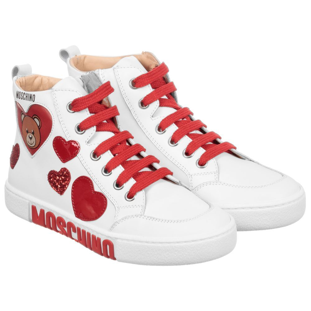 54aaf68a8503 White Leather Teddy Trainers for Girl by Moschino Kid-Teen. Discover more  beautiful designer Shoes for kids online