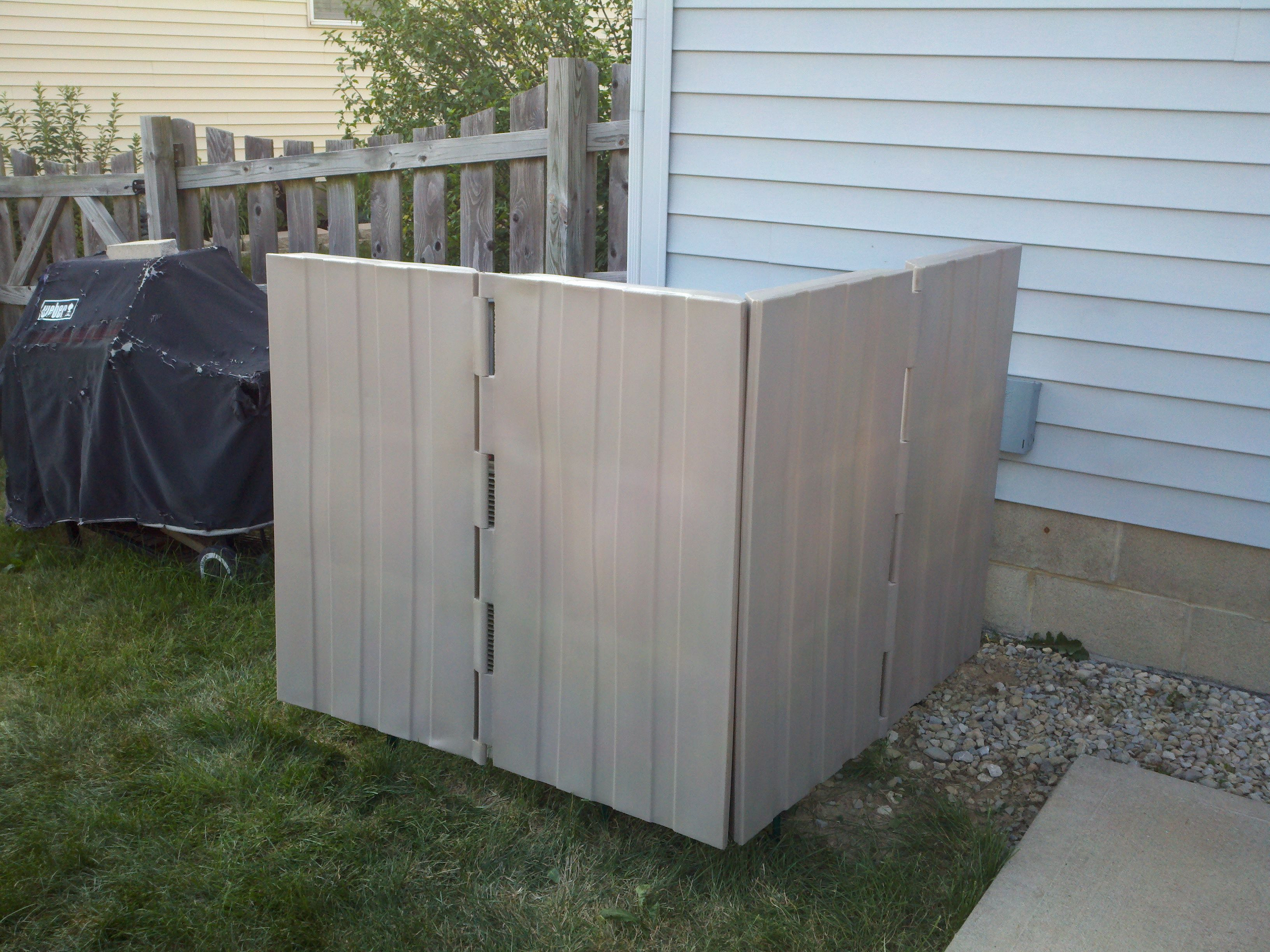 Quiet Fence Two Sets Setup In L Shape To Block Sound Travel To The Patio Loud Air Conditioner Air Conditioner Covers Outdoor Storage Box