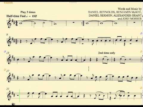 Radioactive Imagine Dragons Violin Sheet Music Chords