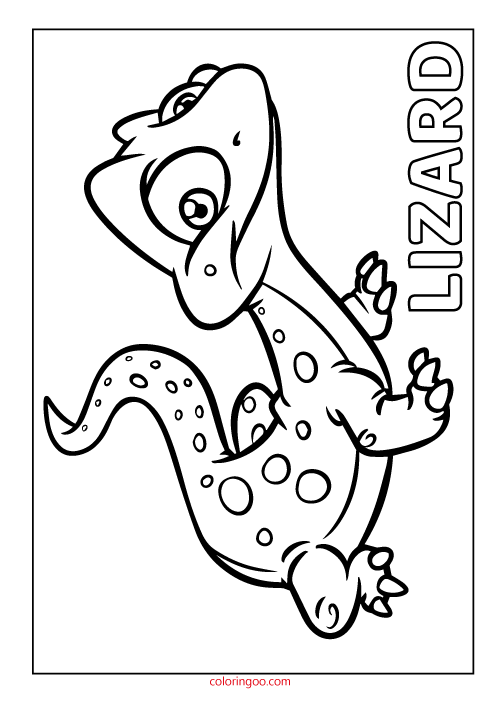 Printable Lizard Coloring Page Pdf For Kids In 2020 Coloring Pages Dinosaur Coloring Sheets Animal Coloring Pages