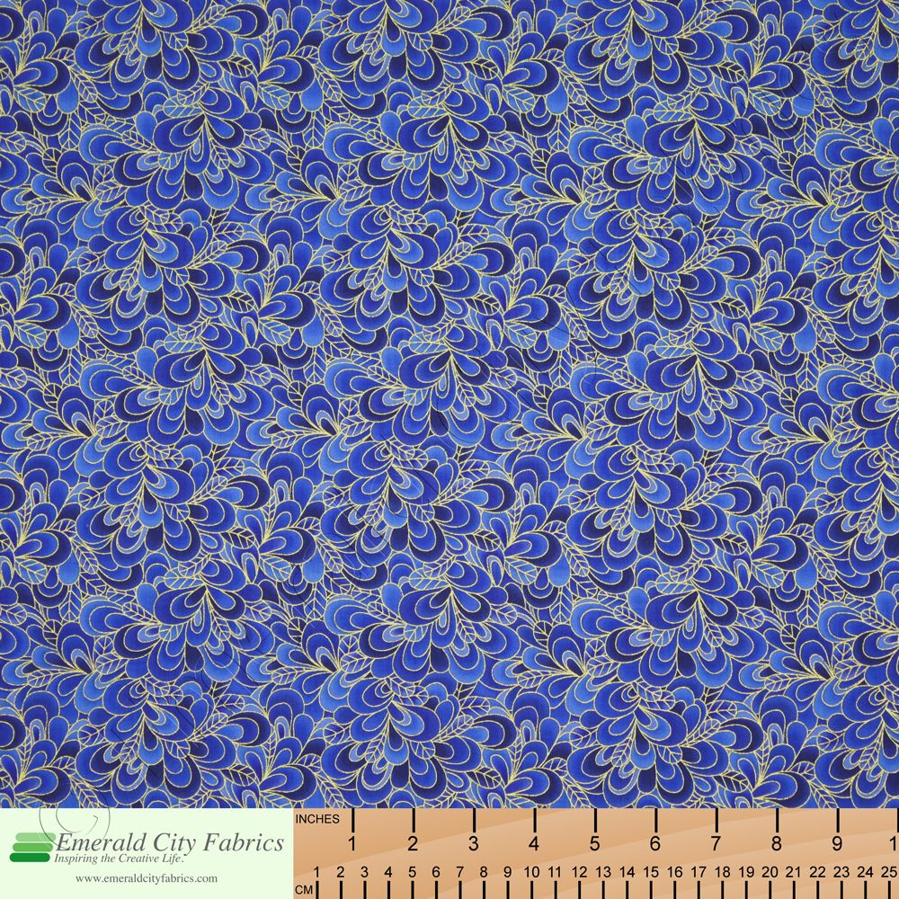 Timeless Treasures Shimmer Petals Royal Blue Cotton Quilt