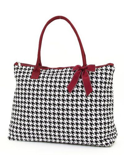 f1ee77659e Belvah Quilted Houndstooth Large Tote Handbag