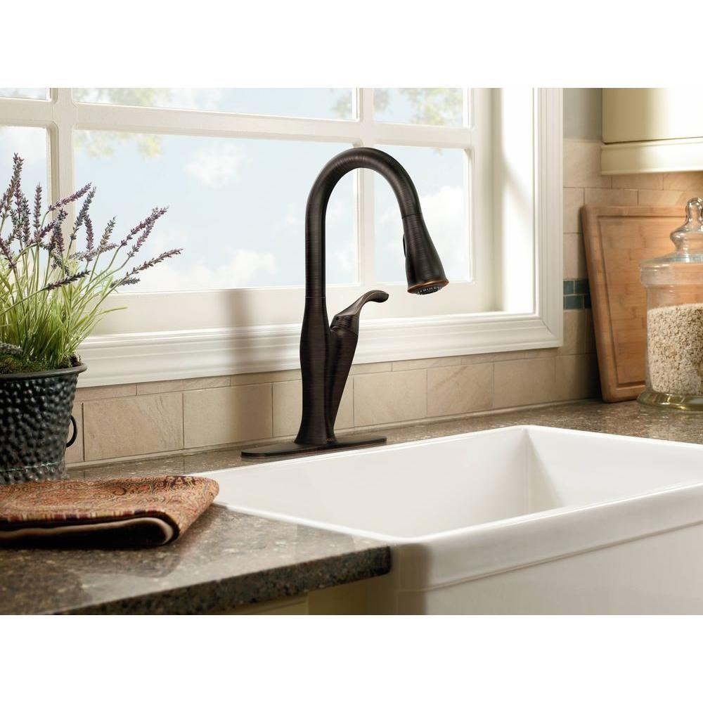 Superbe MOEN, Benton Single Handle Pull Down Sprayer Kitchen Faucet Featuring  Reflex In Mediterranean Bronze, At The Home Depot   Mobile