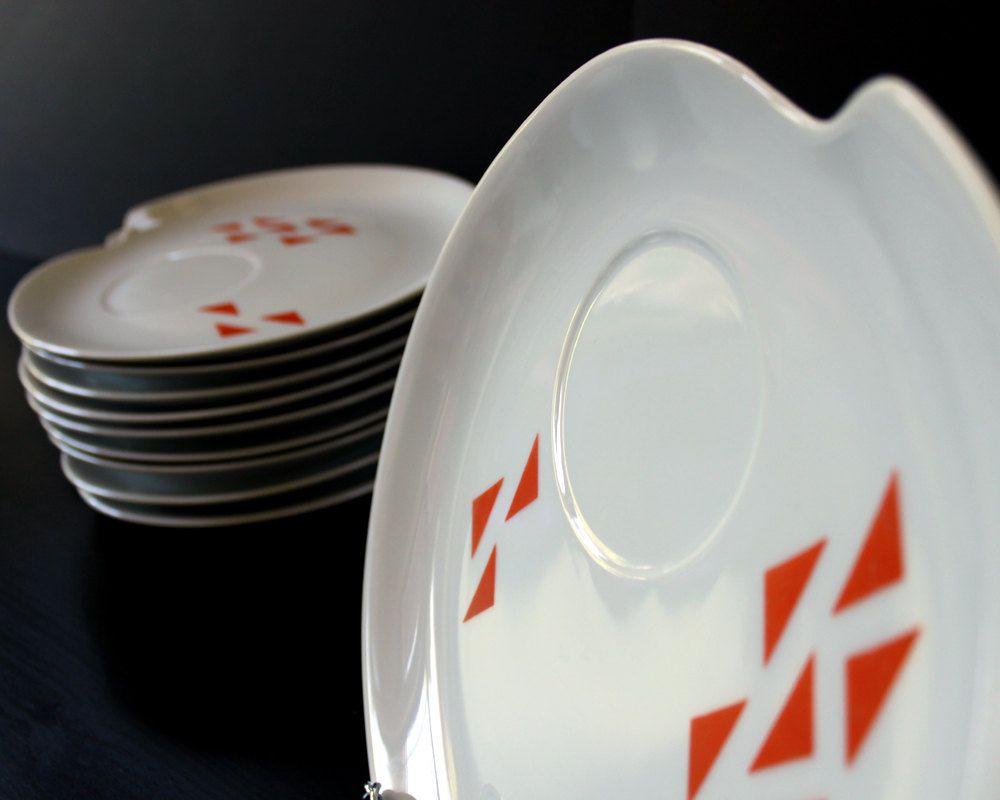 "vintage orange and white ceramic snack plates, Jonas Roberts ""Domino"" pattern"
