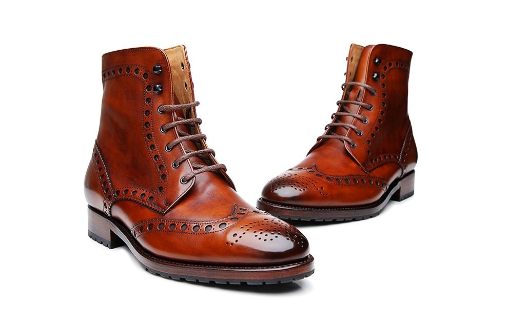 Photo of Goodyear-welted Brogue Lace-up Boot in Whiskey