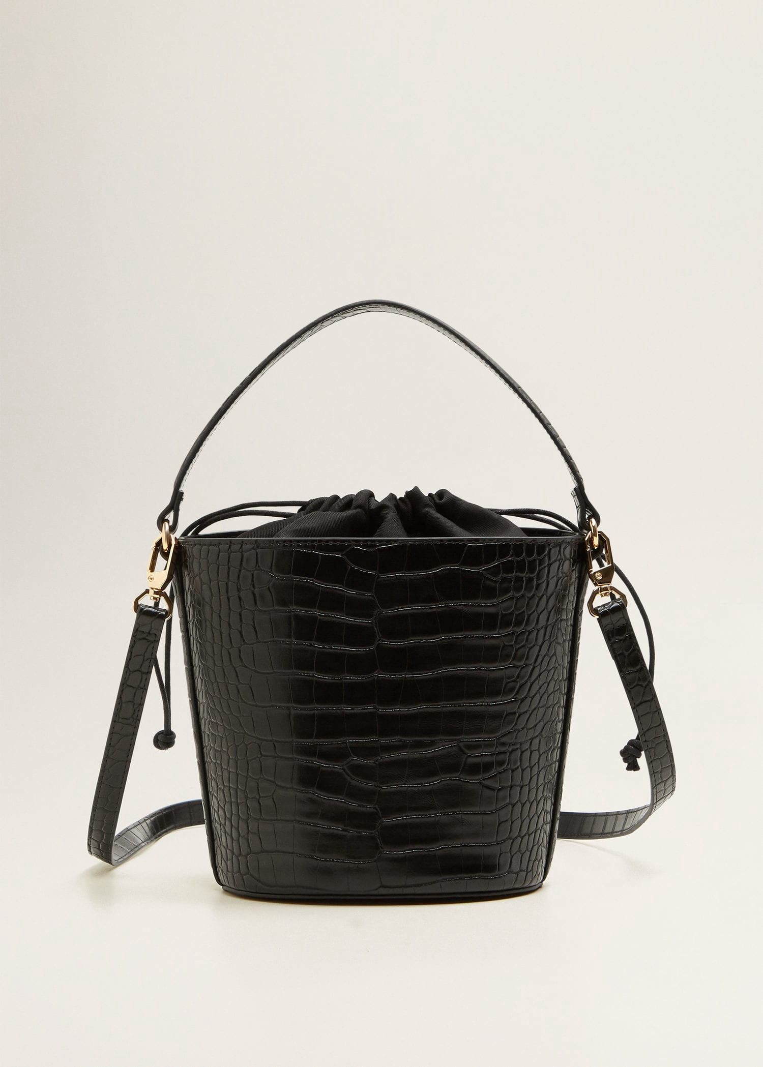 Mango Croc-Effect Bucket Bag - Black One Size  42184e0b135b1