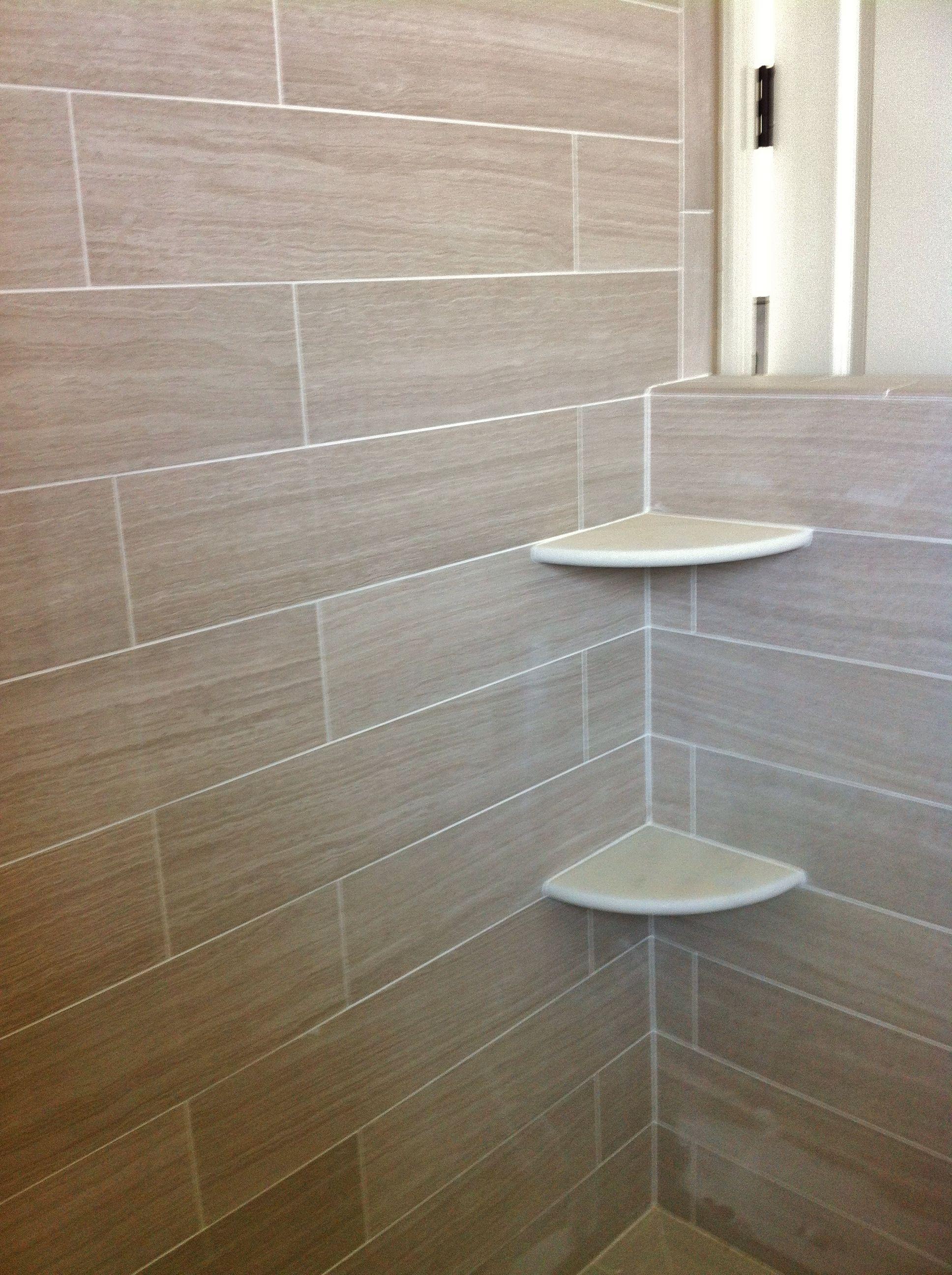 Alabaster corner shelves in shower with 6x24 porcelain ...