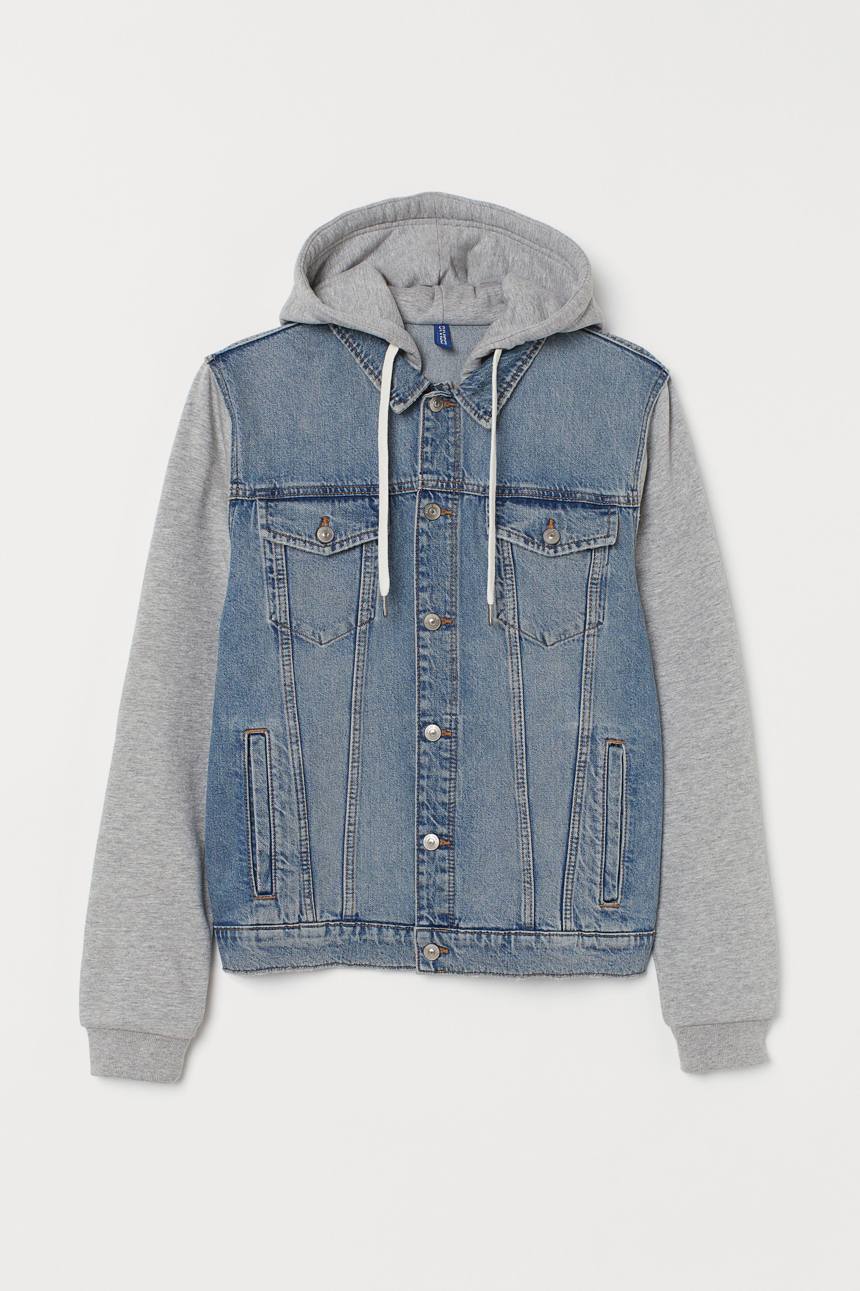 Hooded Denim Jacket Denim Blue Gray Men H M Us In 2021 Hooded Denim Jacket Denim Jacket Jean Sweater Jacket [ 4320 x 2880 Pixel ]