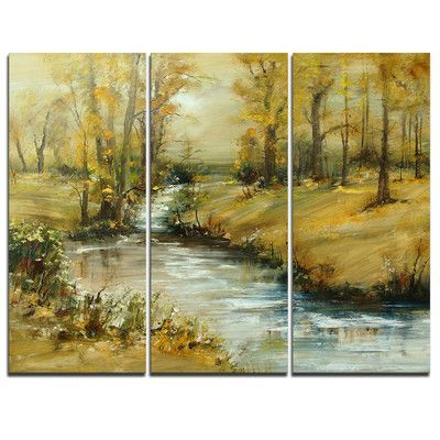 Designart Brook In Autumn Oil Painting 3 Piece Graphic Art On Wrapped Canvas Set Painting Framed Oil Painting Art