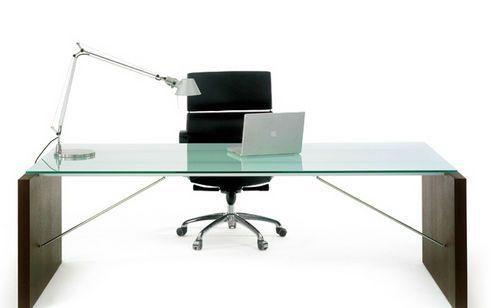 Escritorio de director moderno en madera de cristal - Escritorios de madera para oficina ...