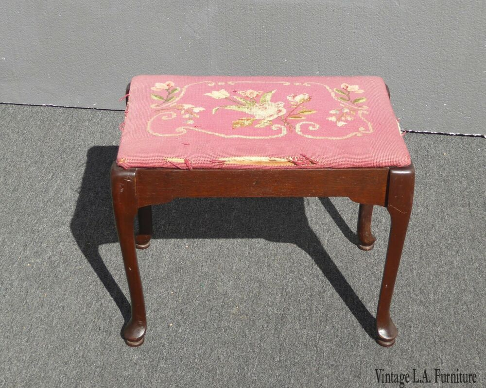 Vintage Rustic French Provincial Pink Needlepoint Bench