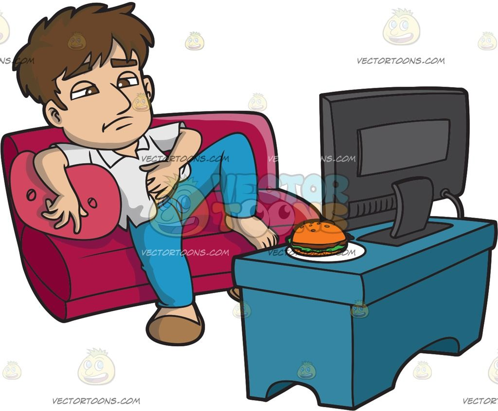 A Lazy Man Eating And Watching Tv All Day Cartoon Clipart ...