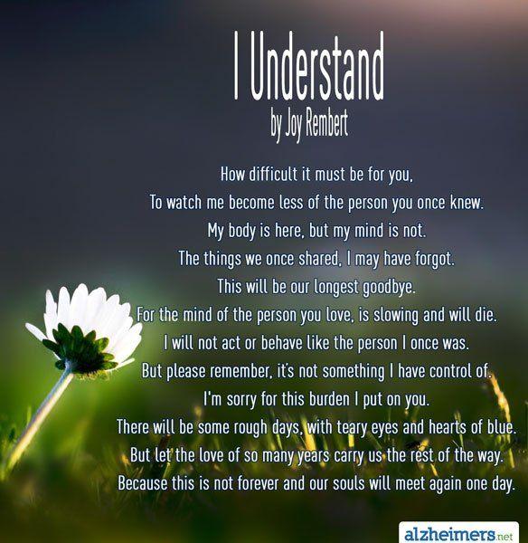Poem: I Understand in 2020 | Understanding, Alzheimers ...