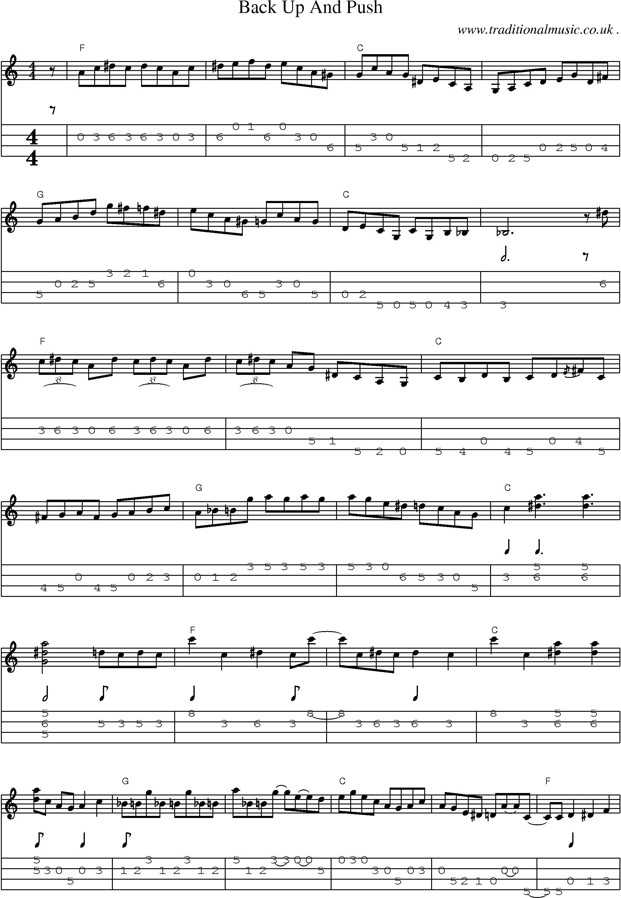 Music Score And Mandolin Tabs For Back Up And Push Sheetmusic