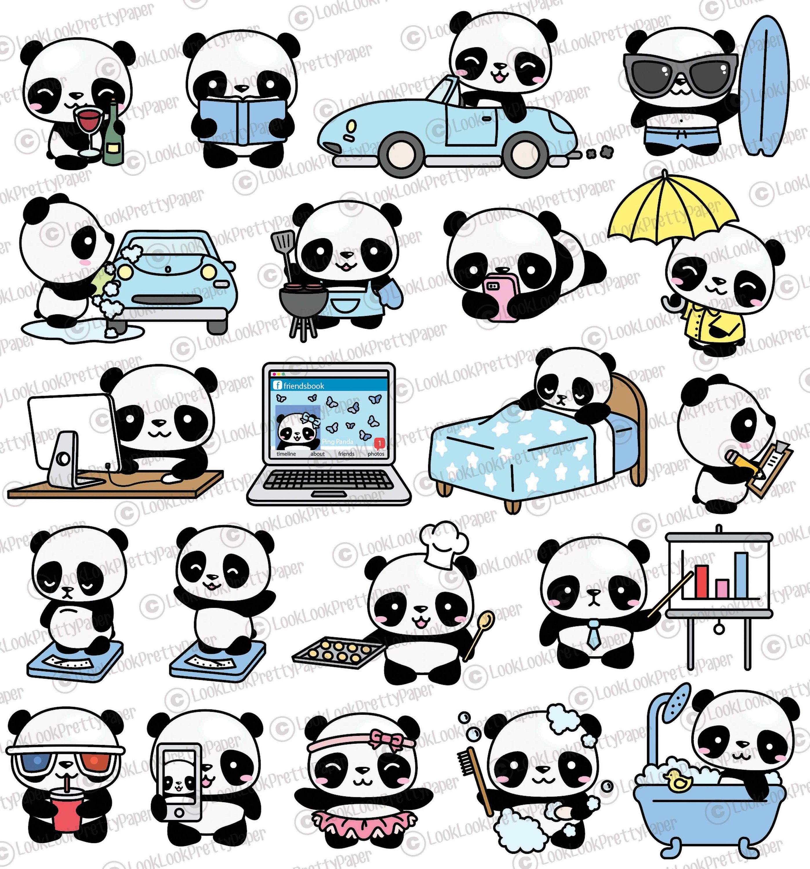 Premium Vector Clipart - Kawaii Panda - Cute Panda ...