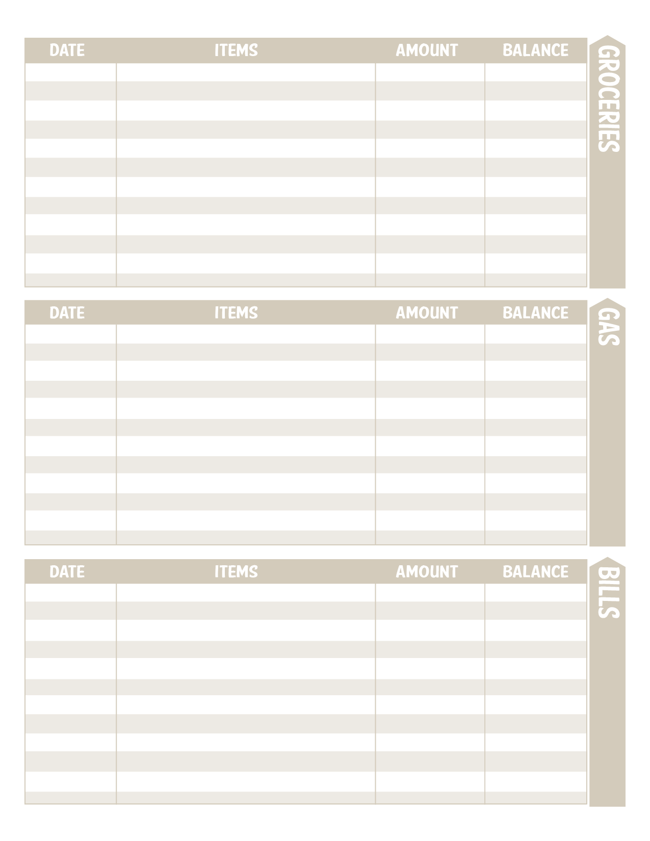 Budget Envelope Insert Pages
