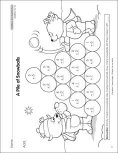 Winter Themed Mathorksheets Coloring Pages St Grade Snowman ...