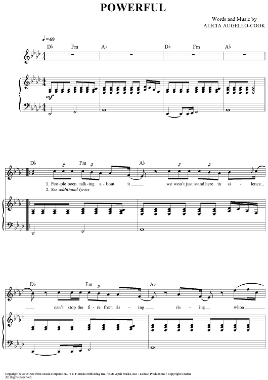 Powerful Soundtracks Sheet Music Pinterest Alicia Keys Sheet