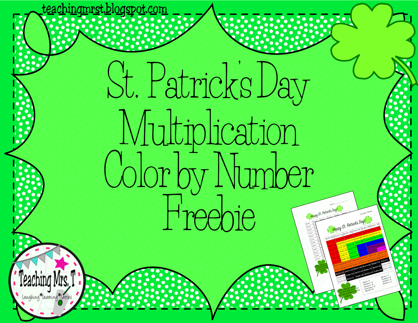 Multiplication Color By Number Freebie For St Patrick S