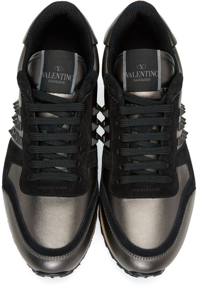 the best attitude b93fb ac078 Valentino - Gunmetal   Black Rockstud Sneakers