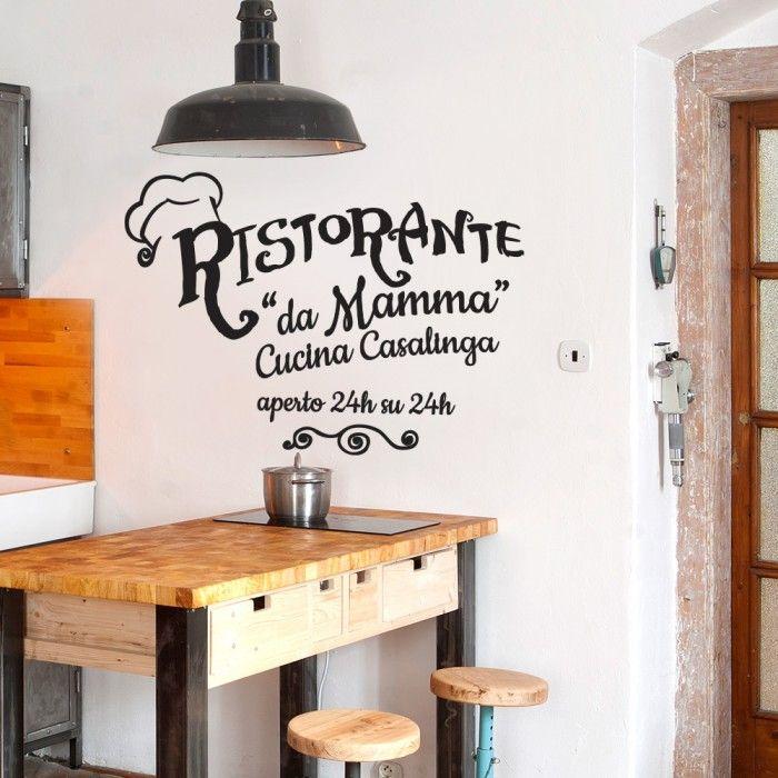 """""""Ristorante da mamma"""" http://www.adesivimurali.com/aforismi/01418-ristorante-da-mamma"""
