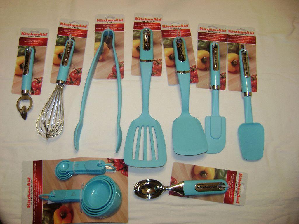 Kitchenaid aqua turquoise blue kitchen utensils blue