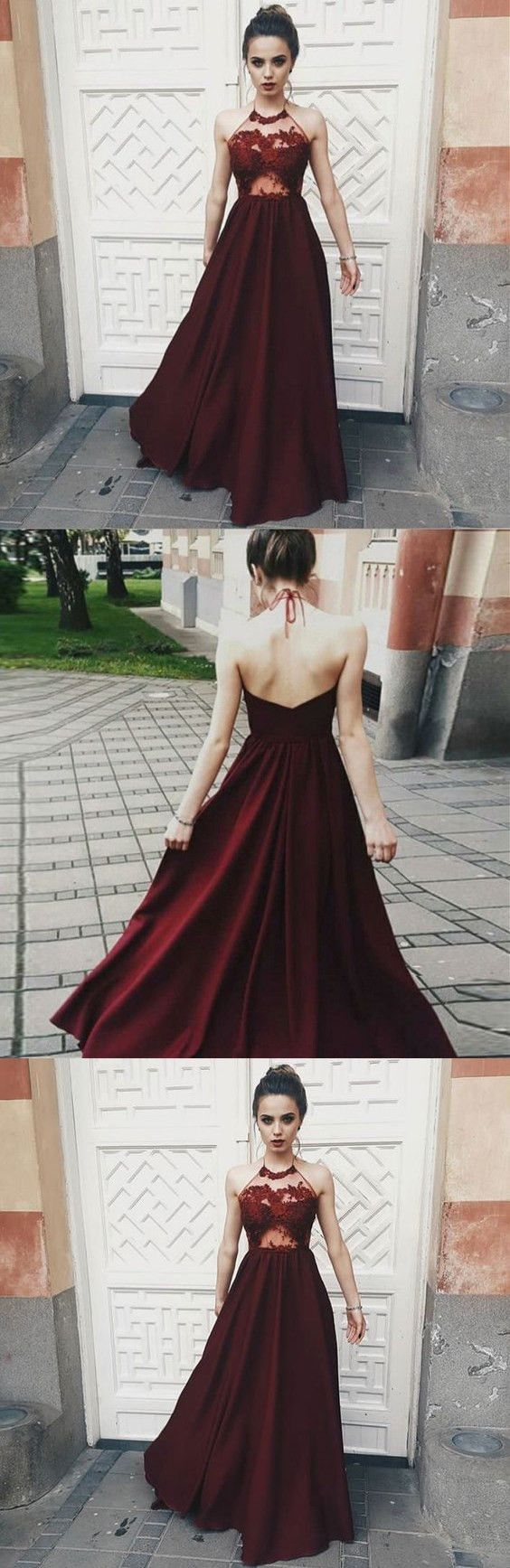 Opening back sexy prom dresses dark red illusion bodice halter long