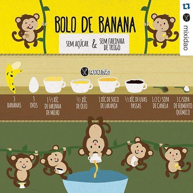 Apenas morrendo de fofura com as receitas ilustradas e animadas do @mixidao  #Repost @mixidao with @repostapp. ・・・ Que tal um bolo de banana saudável sem açúcar e sem farinha de trigo. Corre la no blog para ver a receita ilustrada completa: mixidao.com.br #receita #receitailustrada