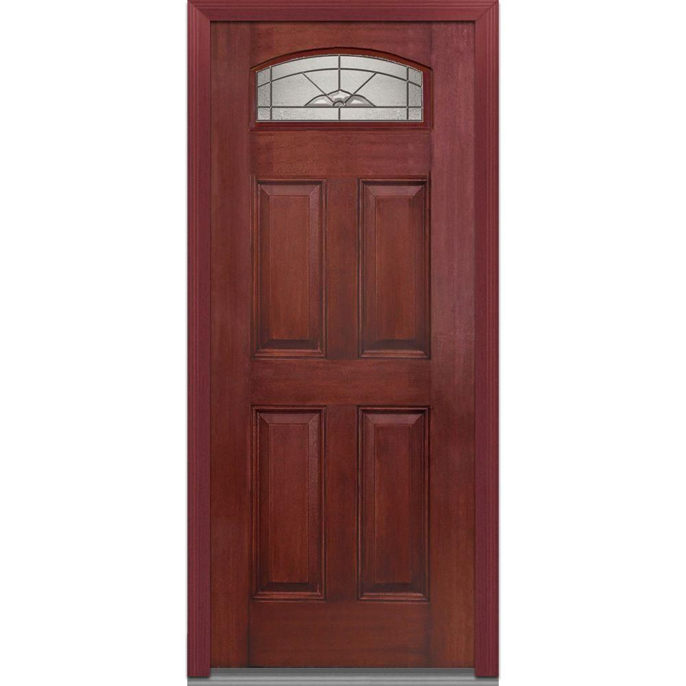 Milliken Millwork 36 In X 80 In Master Nouveau Deco Glass Segmented 1 4 Lite 4 Panel Finished Mahogany Fiberglass Prehung Front Door Z001133r The Home Portas