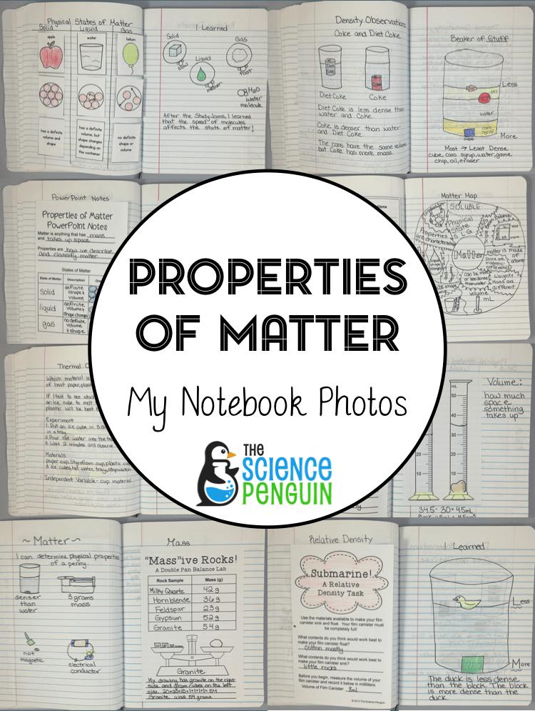 new notebook blog series properties of matter udl properties of matter science penguin. Black Bedroom Furniture Sets. Home Design Ideas