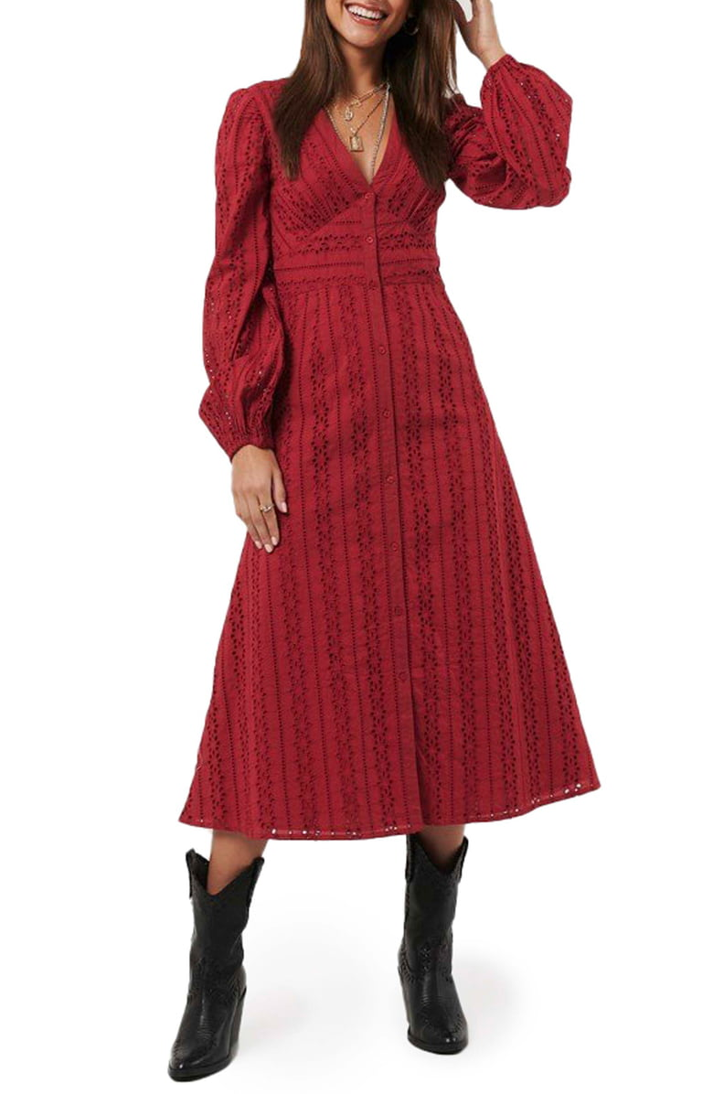 Na Kd Long Sleeve Broderie Anglaise Dress Nordstrom Balloon Sleeve Dress Fashion Clothes Women Red Midi Dress [ 1196 x 780 Pixel ]