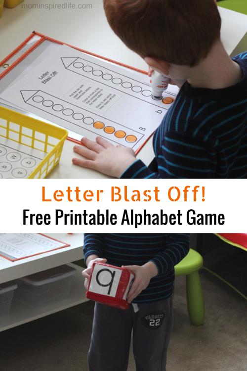 Letter Blast Off Free Printable Alphabet Game  Letter