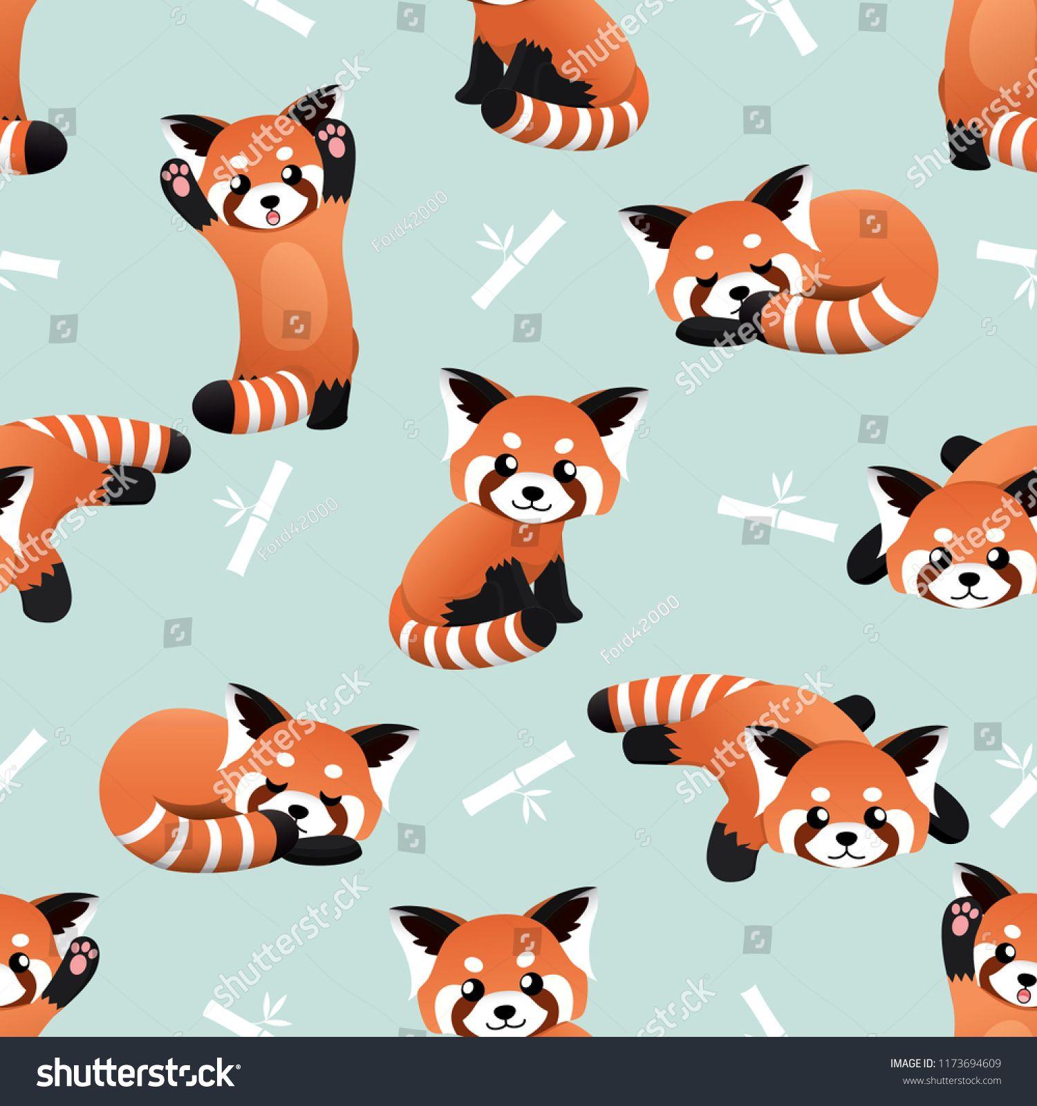 Seamless Cute Red Panda And Bamboo Vector Pattern Background Cute Animal Pattern Red Panda Seamless Cute Red Panda Background Patterns Stuffed Animal Patterns