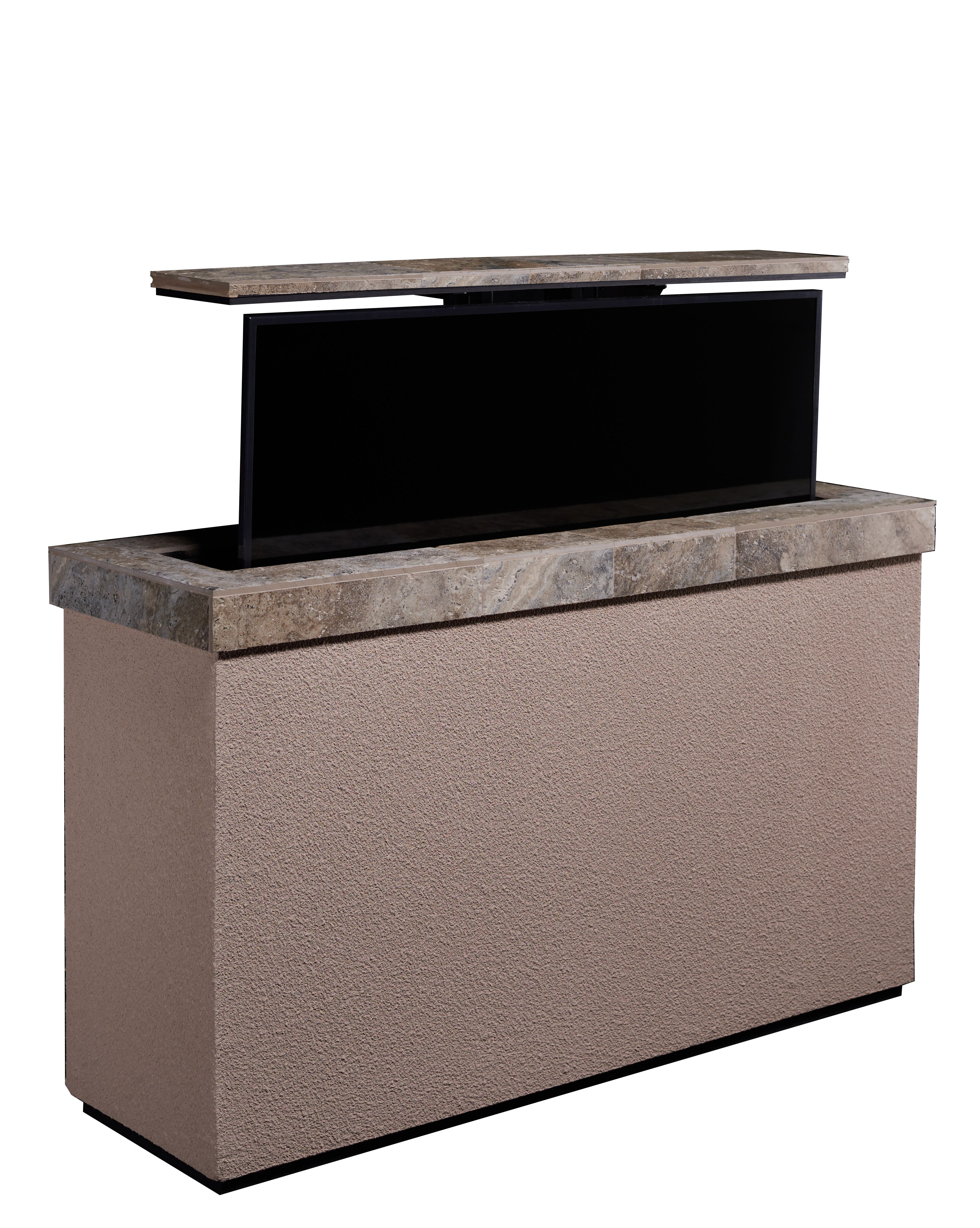 Stucco Island With Tv Hidden In It By Electric Lift System Select From Any Color Stucco Finish Keep Tv Saf Tv Lift Cabinet Outdoor Weatherproof Tv Cabinets