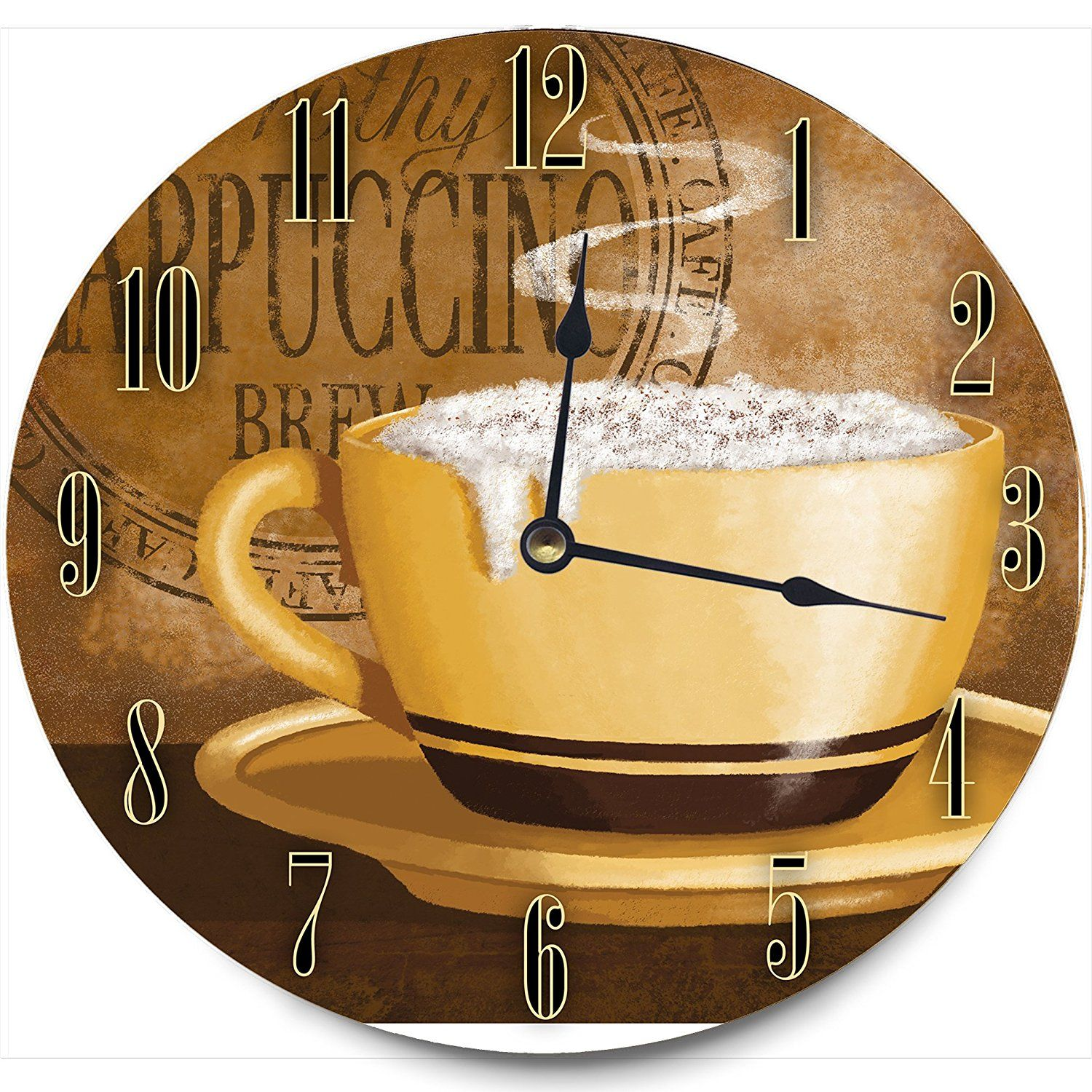 Stupell Home Décor Frothy Cappuccino Decorative Vanity Wall Clock ...