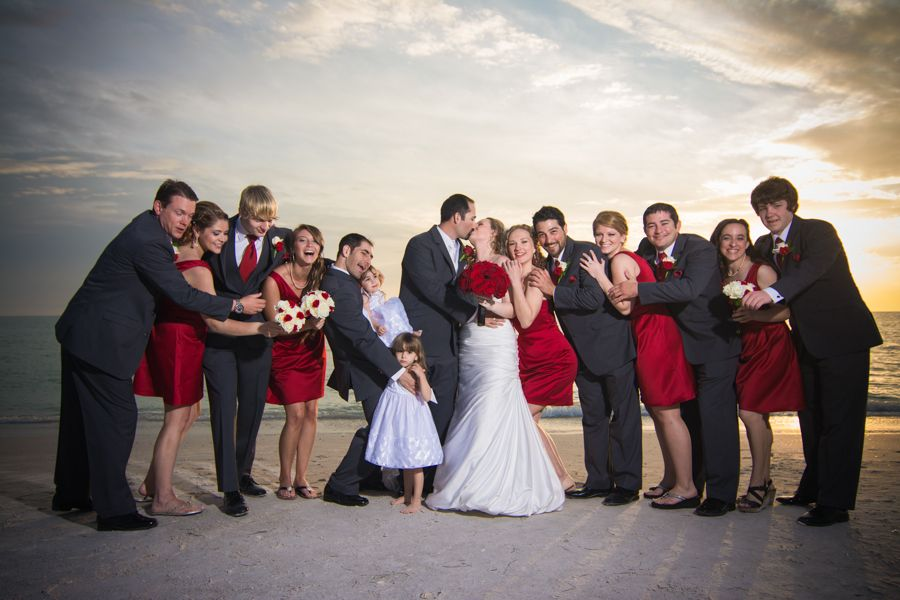 The Bridal Party Red Dresses Grey Suits Bridesmaids