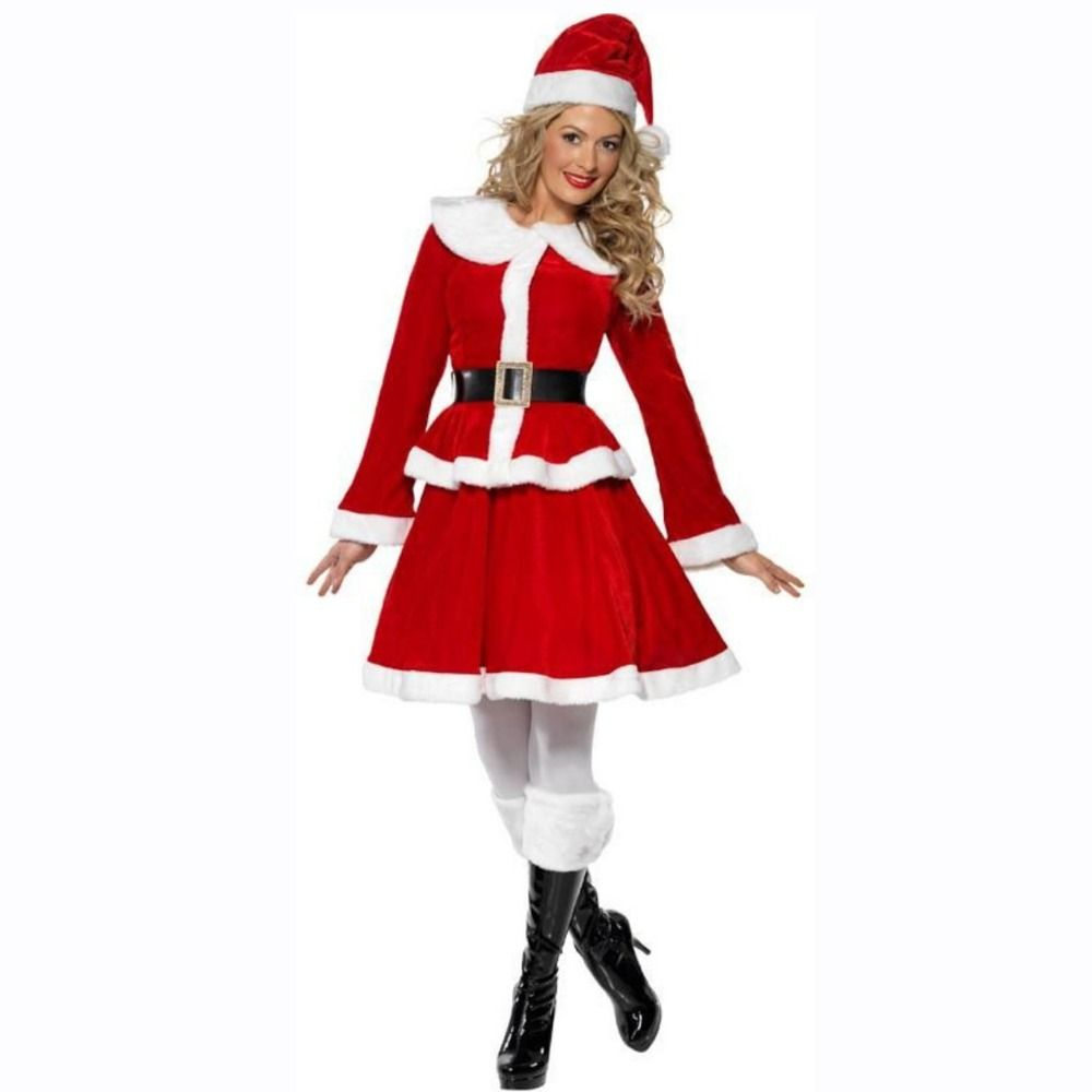 New Sexy Cute Christmas Costume Suit Santa Claus Dress M L