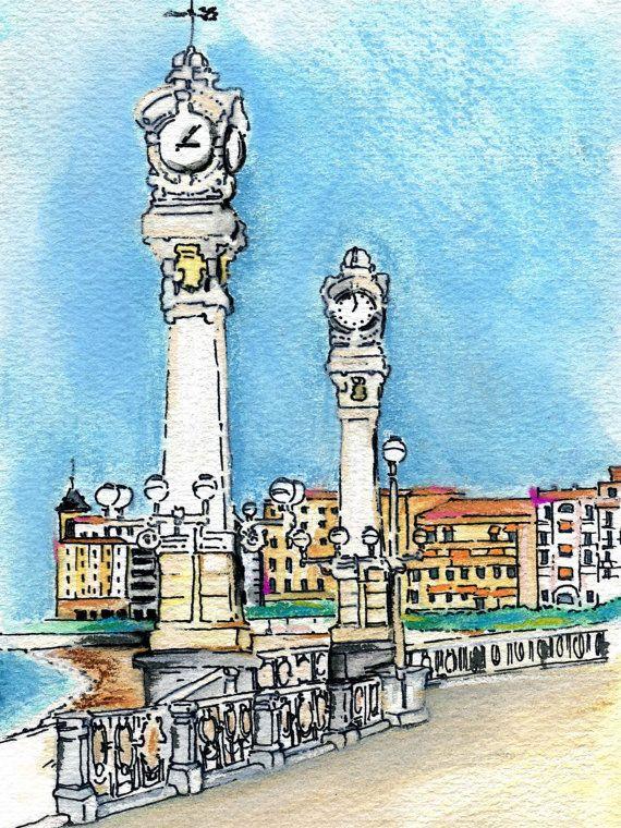 Ilustración acuarela Relojes de San Sebastián /