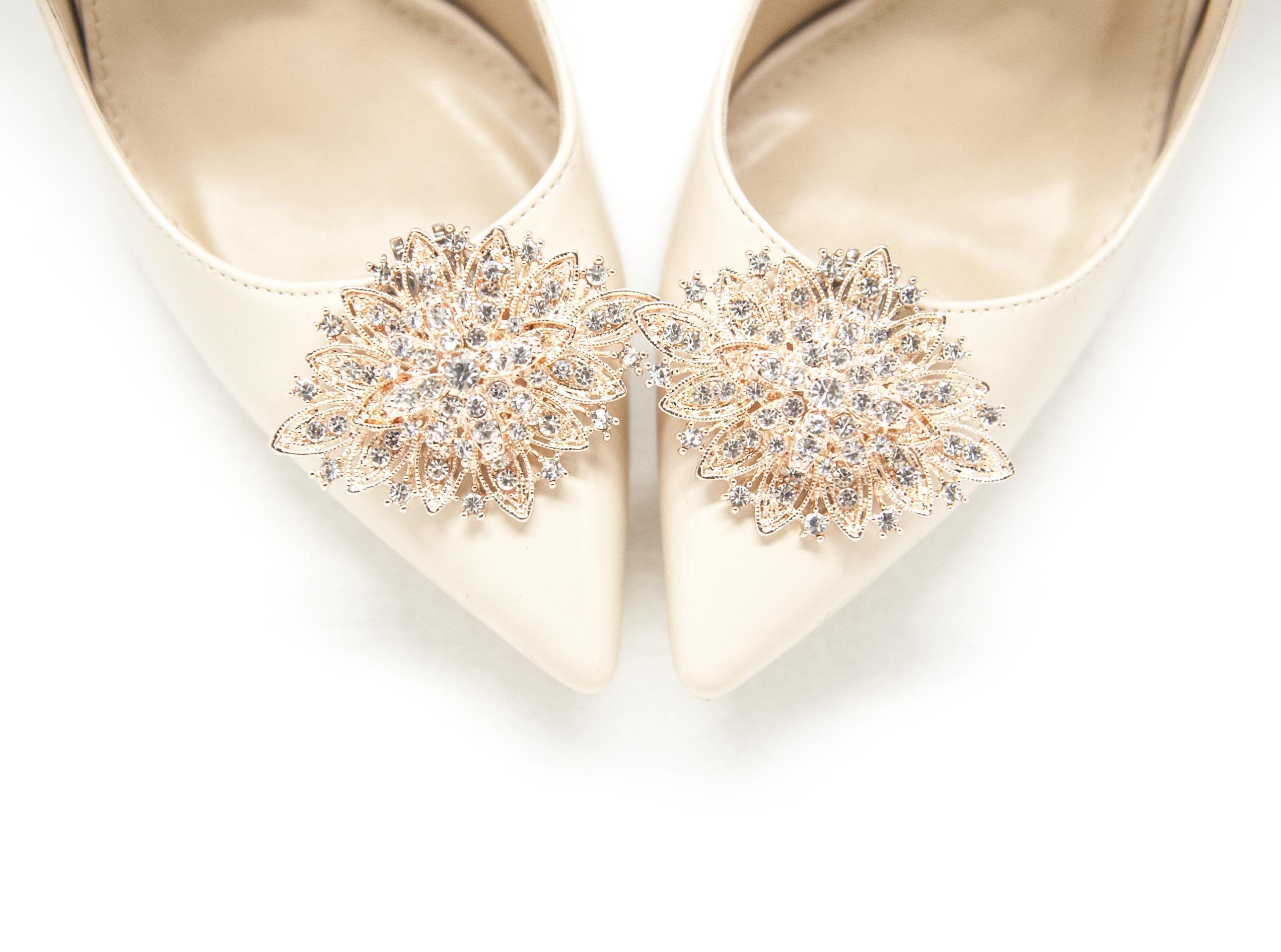 Ozdoby Z Cyrkoniami Rozowe Zloto Buty Do Slubu Buty Dla Etsy Wedding Shoes Shoe Clips Shoes