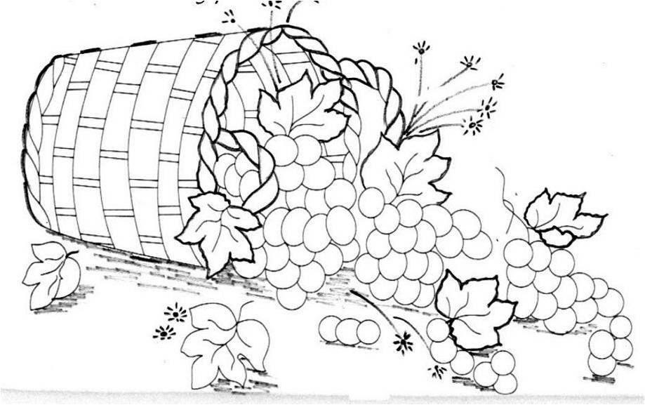 Dibujos Para Colorear Bodegones: Cesto De Flores E Folhas