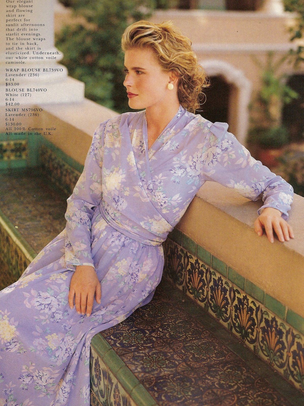 1990 laura ashley lavender long dress floral photo print ad magazine model things of beauty. Black Bedroom Furniture Sets. Home Design Ideas