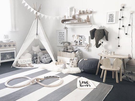 Kinderzimmer wanddekoration idee ausgestopfte tierk pfe - Baby jungenzimmer ...