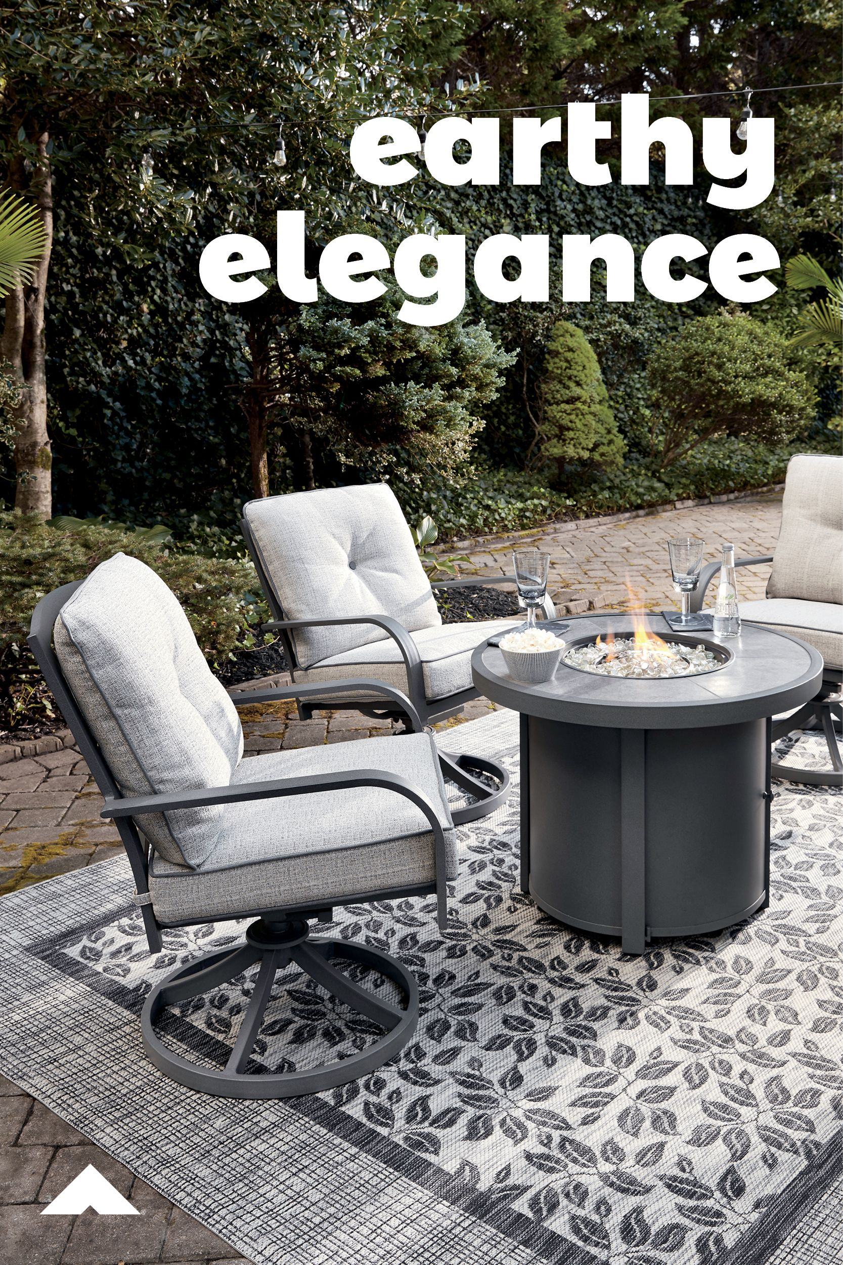 Donnalee Bay Round Fire Pit Table with Swivel Chairs ... on Clare View Beige Outdoor Living Room id=30915