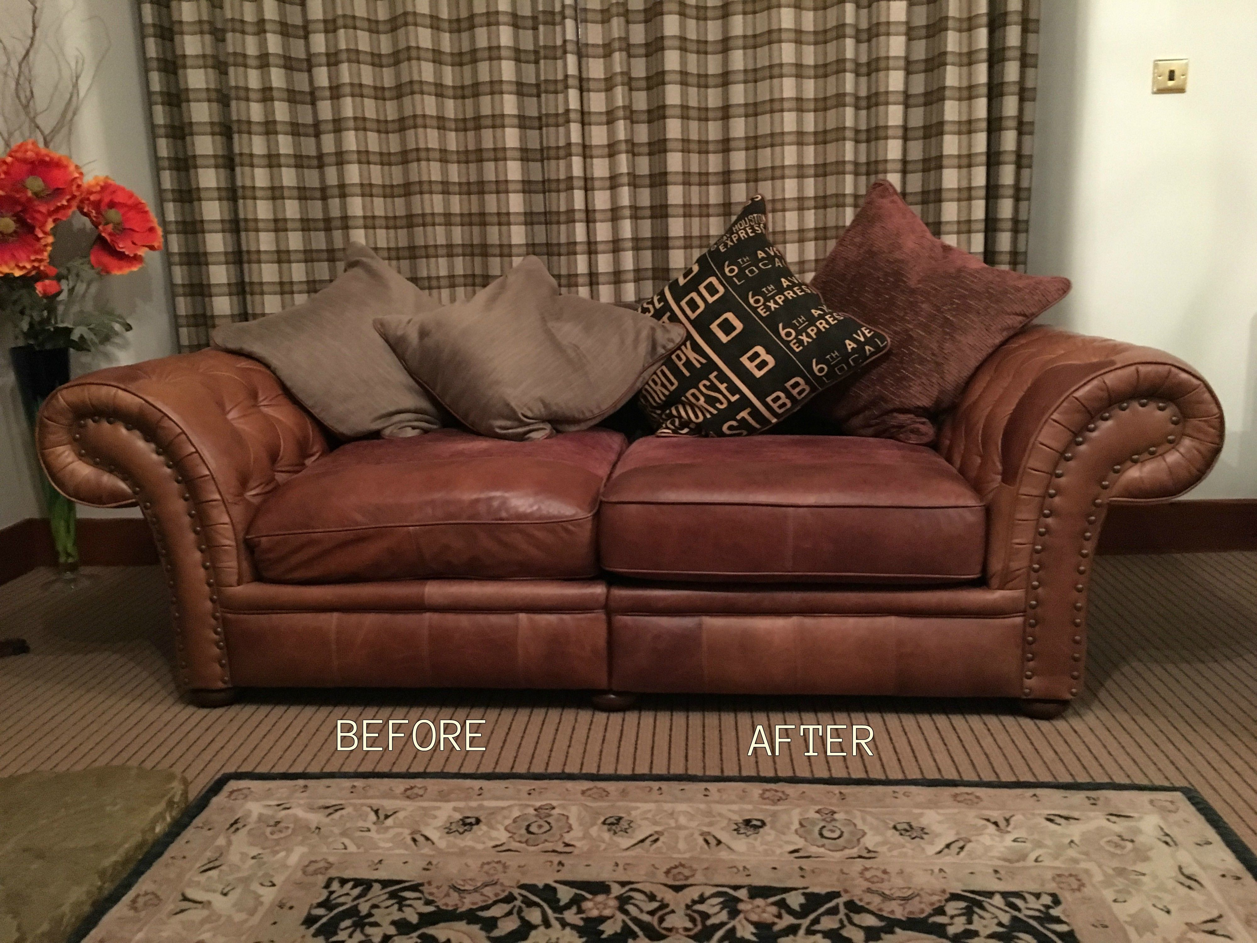 Leather sofa cushion refilling. Misshaped seat cushions replaced ...